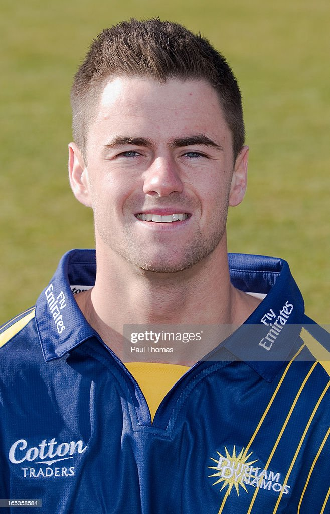Jamie Harrison of Durham CCC wears the Yorkshire Bank 40 kit during a pre-season photocall at The Riverside on April 3, 2013 in Chester-le-Street, England.