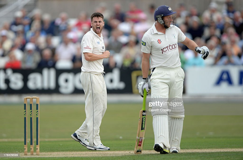 Jamie Harrison of Durham celebrates dismissing Andrew Gale of Yorkshire during the LV County Championship division one match between Yorkshire and Durham at North Marine Road on August 29, 2013 in Scarborough, England.