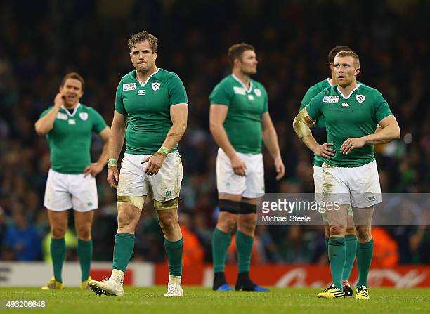 Jamie Heaslip of Ireland and teammates show their dejection at the final whistle after losing the 2015 Rugby World Cup Quarter Final match between...
