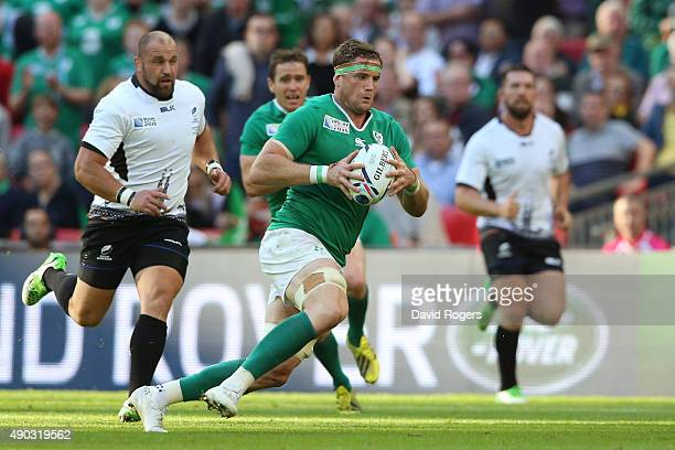 Jamie Heaslip of Ireland breaks through during the 2015 Rugby World Cup Pool D match between Ireland and Romania at Wembley Stadium on September 27...