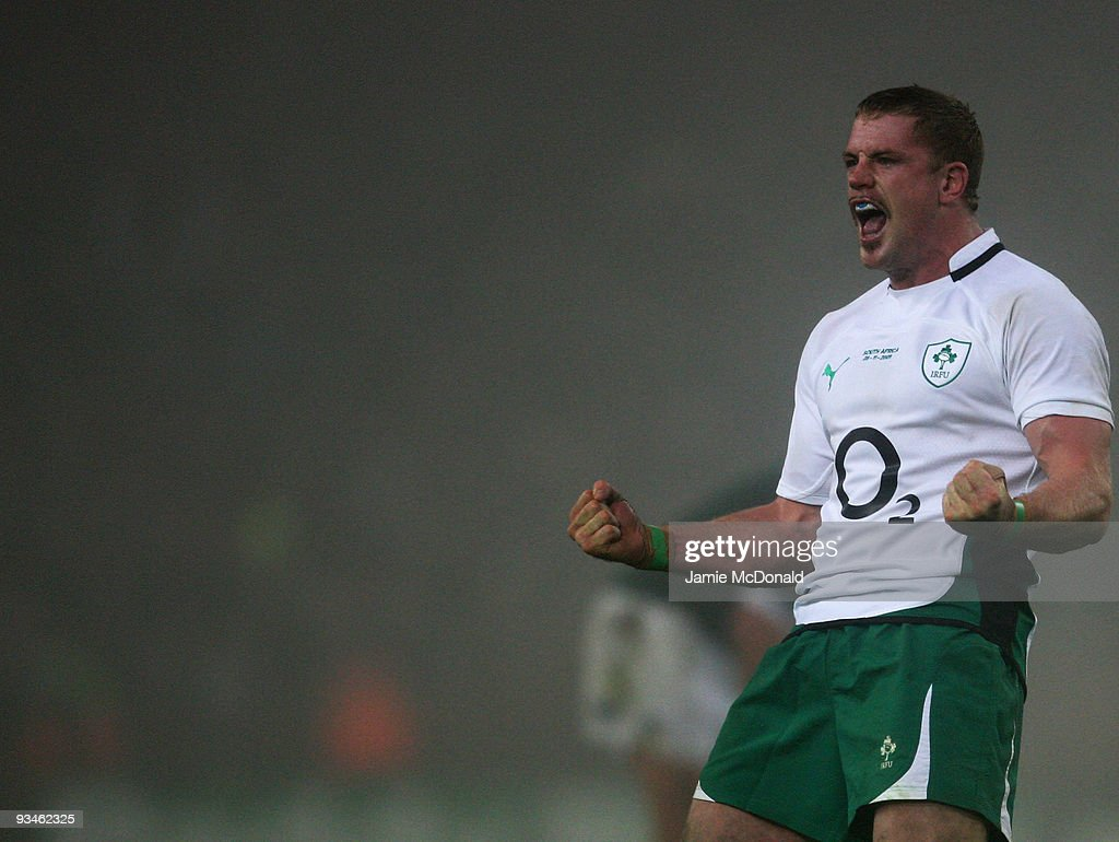 Jamie Heaslip of Ireland celebrates victory over South Africa at the close of the Guinness Series 2009 match between Ireland and South Africa at...