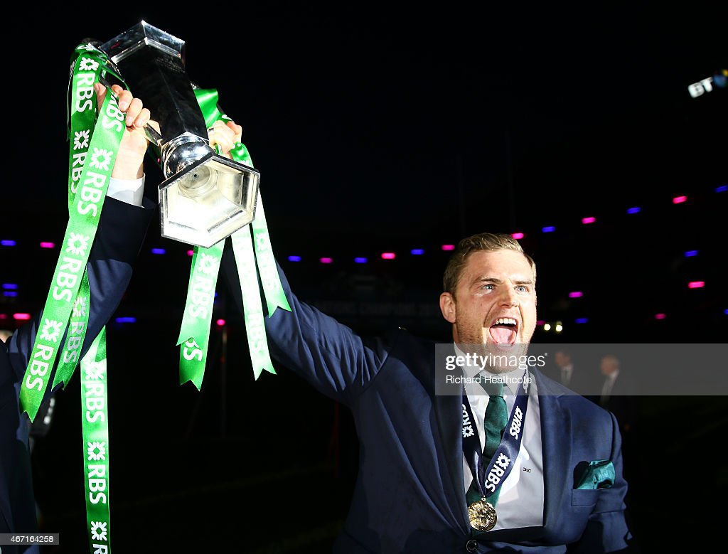 Jamie Heaslip of Ireland celebrates with the trophy after the RBS Six Nations match between Scotland and Ireland at Murrayfield on March 21 2015 in...