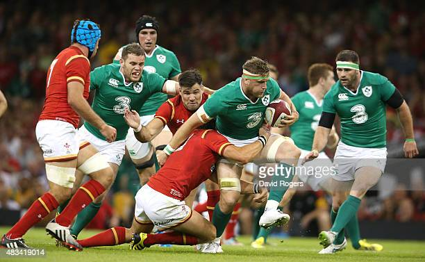 Jamie Heaslip of Ireland charges upfield during the International match between Wales and Ireland at the Millennium Stadium on August 8 2015 in...