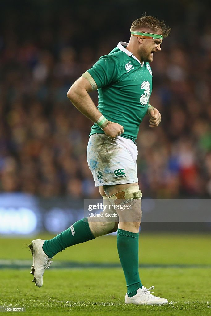 Jamie Heaslip of Ireland leaves the field of play injured during the RBS Six Nations match between Ireland and France at the Aviva Stadium on...