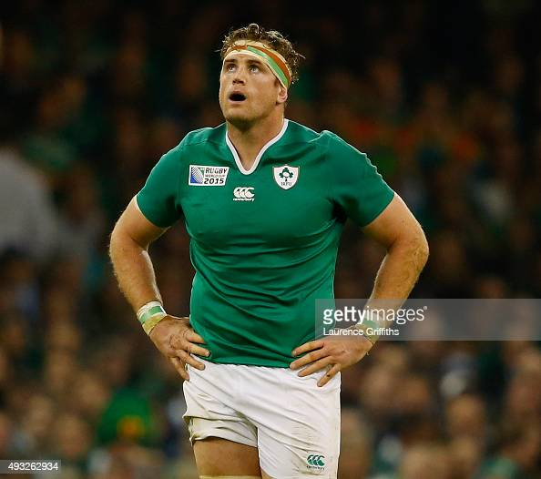 Jamie Heaslip of Ireland looks on during the 2015 Rugby World Cup Quarter Final match between Ireland and Argentina at Millennium Stadium on October...