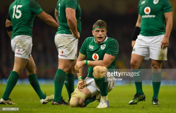Jamie Heaslip of Ireland reacts during the Six Nations match between Wales and Ireland at the Principality Stadium on March 10 2017 in Cardiff Wales