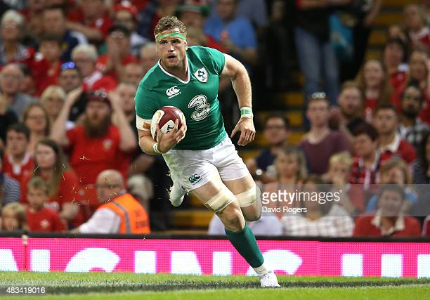 Jamie Heaslip of Ireland scores the first try during the International match between Wales and Ireland at the Millennium Stadium on August 8 2015 in...