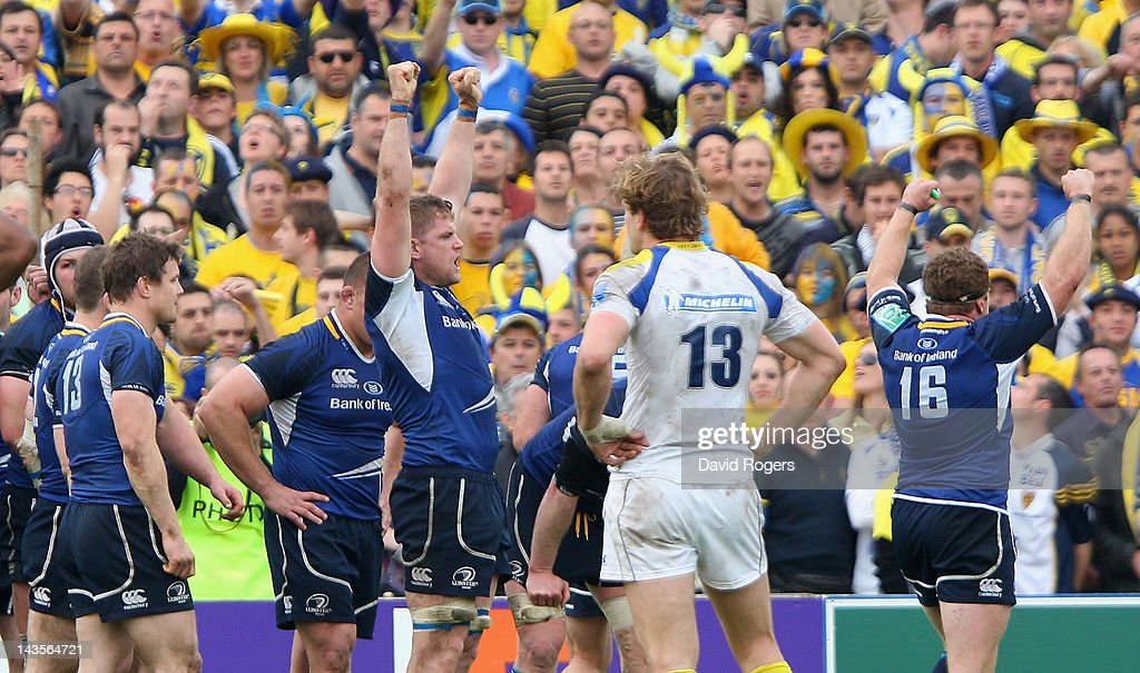 Jamie Heaslip (C) of Leinster celebrates his teams victory with team mates after the final whistle during the Heineken Cup semi final match between ASM Clermont Auvergne and Leinster at Stade Chaban-Delmas on April 29, 2012 in Bordeaux, France. (Photo by David Rogers/Getty Images