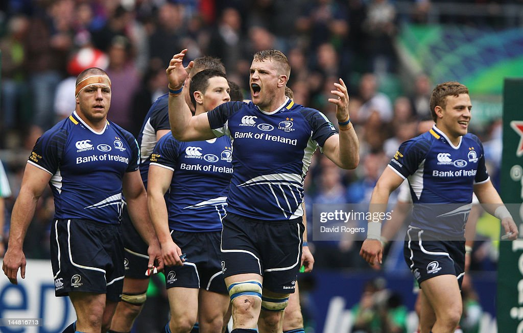 Jamie Heaslip of Leinster celebrates with team mates after the Heineken Cup Final between Leinster and Ulster at Twickenham Stadium on May 19, 2012 in London, United Kingdom.