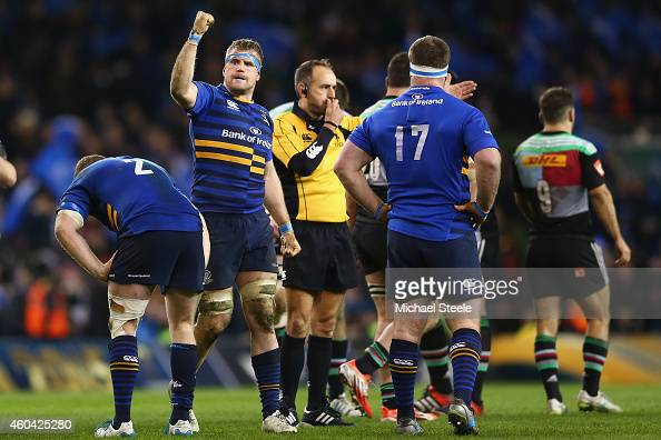 Jamie Heaslip of Leinster clenches his fist at the final whistle as his side claim a 1413 victory during the European Rugby Champions Cup Pool Two...