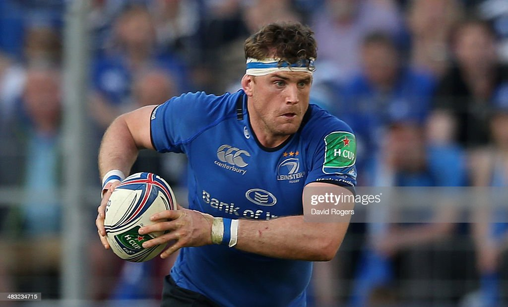 Jamie Heaslip of Leinster runs with the ball during the Heineken Cup quarter final match between Toulon and Leinster at the Felix Mayol Stadium on...
