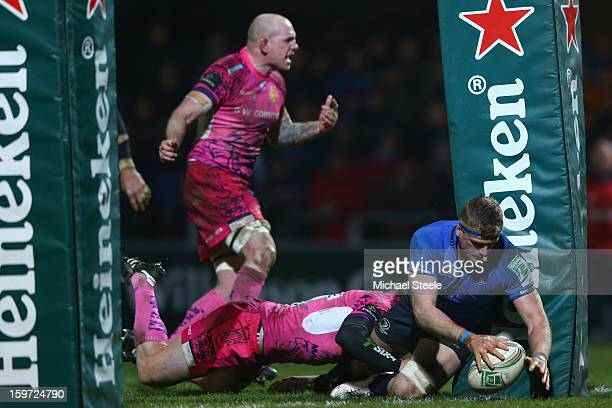 Jamie Heaslip of Leinster scores his sides fourth try during the Heineken Cup Pool Five match between Exeter Chiefs and Leinster at Sandy Park on...