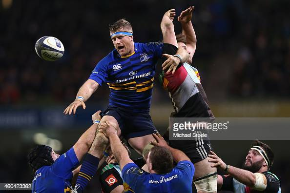 Jamie Heaslip of Leinster wins the ball from Jack Clifford of Harlequins at a lineout during the European Rugby Champions Cup Pool Two match between...