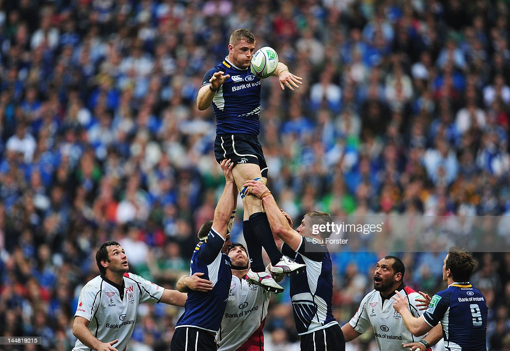 Jamie Heaslip of Leinster wins the lineout ball during the Heineken Cup Final between Leinster and Ulster at Twickenham Stadium on May 19, 2012 in London, United Kingdom.