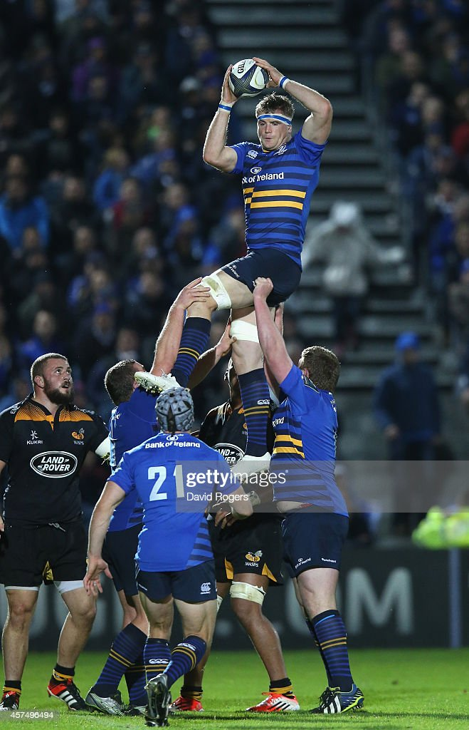 Jamie Heaslip of Leinster wins the lineout during the European Rugby Champions Cup match between Leinster and Wasps at the RDS Arena on October 19...
