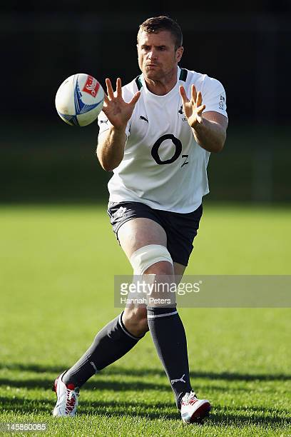 Jamie Heaslip runs through drills during an Ireland rugby team training session at Onewa Domain on June 7 2012 in Takapuna New Zealand