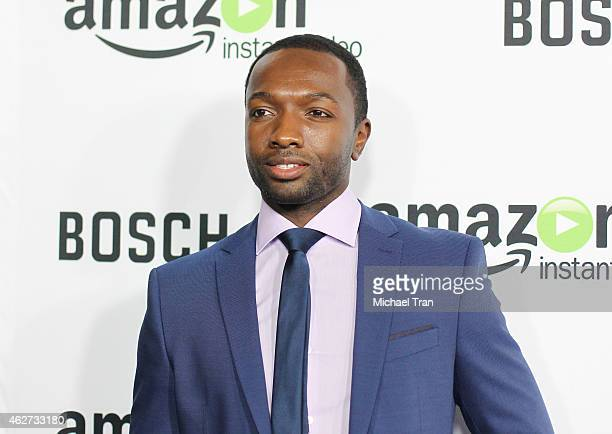 Jamie Hector arrives at the Los Angeles premiere of 'Bosch' held at Arclight Hollywood on February 3 2015 in Hollywood California