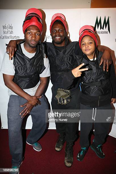 Jamie Hector Gbenga Akinnagbe and Felicia 'Snoop' Pearson attend the 4th Annual Moving Mountains Inc Celebrity Paintball Fundraiser at NYC Indoor...