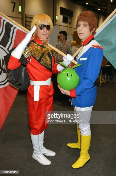 Jamie Heffer and Josh Kittle from Norfolk wearing comic character outfits at the Comic Con exhibition which brings together fans of Comic book heros...