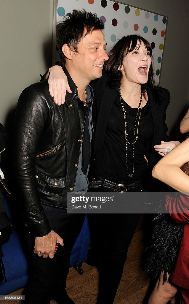 Jamie Hince (L) and Annabelle Neilson attend event planner Paul Rowe's 40th birthday party at The Groucho Club on April 3, 2013 in London, England.