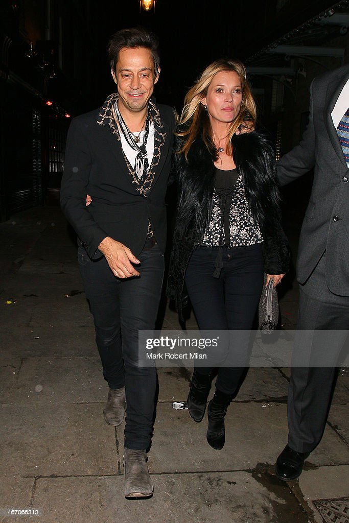 Jamie Hince and Kate Moss at J. Sheeky restaurant on February 5, 2014 in London, England.