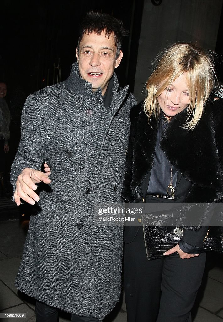 Jamie Hince and Kate Moss at the Wolseley restaurant on January 23, 2013 in London, England.