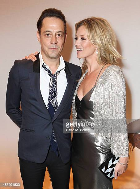 Jamie Hince and Kate Moss attend a private dinner celebrating the Global Launch of the 'Kate Moss for TopShop Collection' at The Connaught Hotel on...