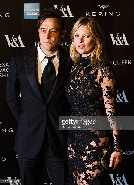 Jamie Hince and Kate Moss attend a private view for the 'Alexander McQueen Savage Beauty' exhibition at Victoria Albert Museum on March 12 2015 in...