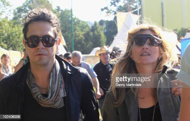 Jamie Hince and Kate Moss attend Glastonbury Festival at Worthy Farm on June 25 2010 in Glastonbury England