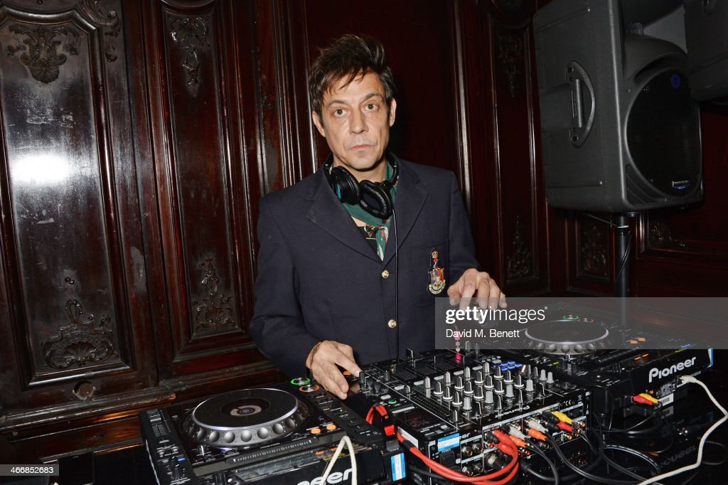 <a gi-track='captionPersonalityLinkClicked' href=/galleries/search?phrase=Jamie+Hince&family=editorial&specificpeople=220566 ng-click='$event.stopPropagation()'>Jamie Hince</a> DJ's at the InStyle Best of British Talent party in celebration of BAFTA, in association with Lancome and Sky Living, at Dartmouth House on February 4, 2014 in London, England.