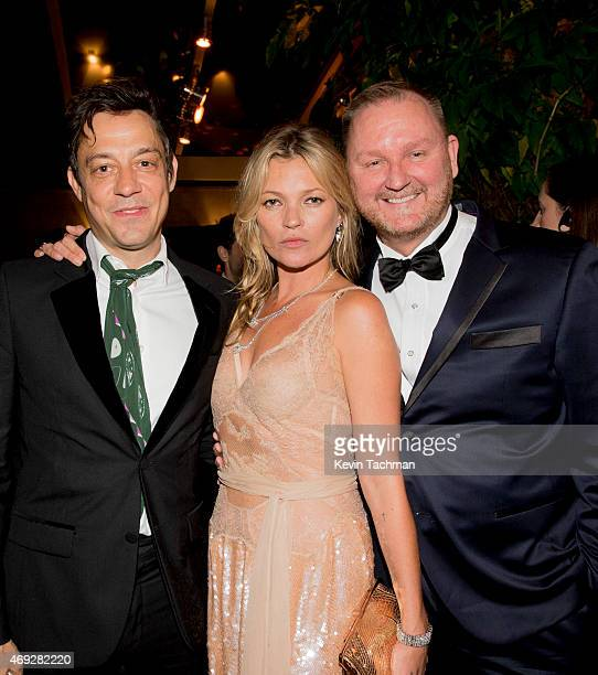 Jamie Hince Kate Moss and Kevin Robert Frost attend the 5th Annual amfAR Inspiration Gala at the home of Dinho Diniz on April 10 2015 in Sao Paulo...