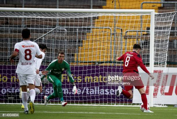 Jamie Hopcutt of Ostersund attempts to score during the UEFA Europa League 2nd Qualifying Round soccer match between Galatasaray and Ostersund FK at...
