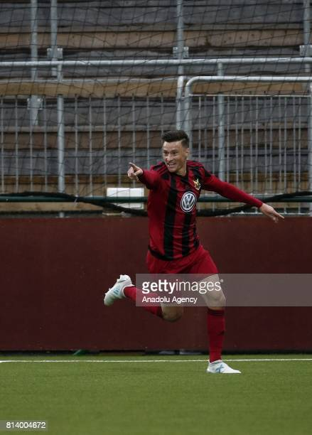 Jamie Hopcutt of Ostersund celebrates after scoring during the UEFA Europa League 2nd Qualifying Round soccer match between Galatasaray and Ostersund...