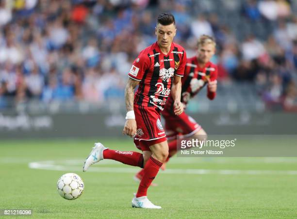Jamie Hopcutt of Ostersunds FK during the Allsvenskan match between Djurgardens IF and Ostersunds FK at Tele2 Arena on July 23 2017 in Stockholm...