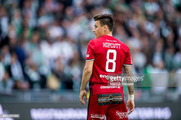 Jamie Hopcutt of Ostersunds FK during the Allsvenskan match between Hammarby IF and Ostersunds FK at Tele2 Arena on August 14 2017 in Stockholm Sweden