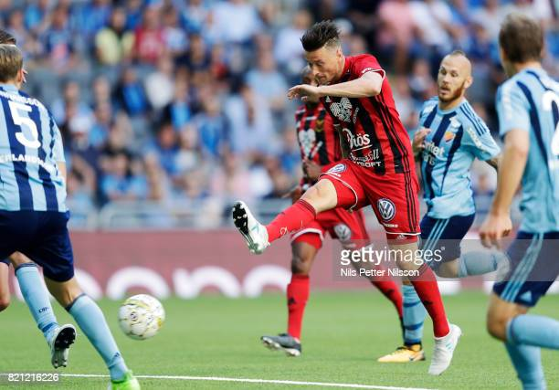 Jamie Hopcutt of Ostersunds FK shoots during the Allsvenskan match between Djurgardens IF and Ostersunds FK at Tele2 Arena on July 23 2017 in...