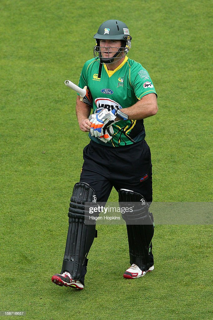 Jamie How of Central Districts walks off the field after being dismissed during the Twenty20 match between Wellington Firebirds and Central Stags at Hawkins Basin Reserve on December 26, 2012 in Wellington, New Zealand.