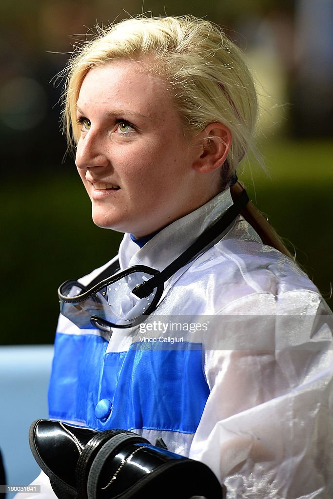 Jamie Kah looks on after winning the Mitchelton Wines Handicap on Highness during Melbourne racing at Moonee Valley Racecourse on January 25, 2013 in Melbourne, Australia.