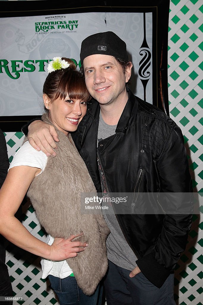 Jamie Kennedy (R) and Clara Hickerson attend Rock & Reilly's Irish Rock Pub hosts 2nd annual St. Paddy's block party on Sunset Strip on March 16, 2013 in West Hollywood, California.