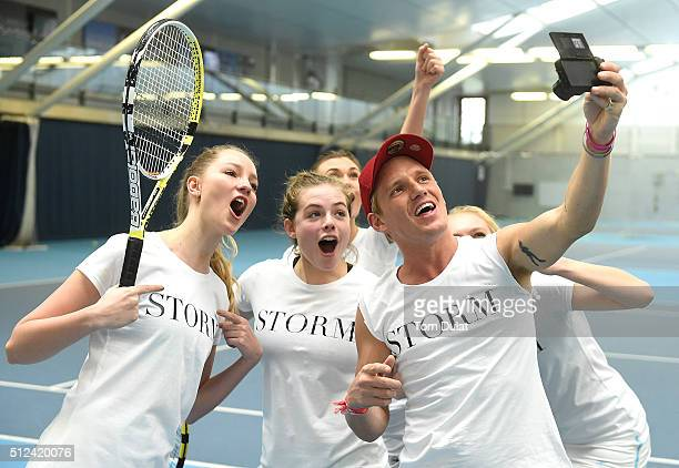 Jamie Laing and Storm models take a selfie during the Sport Relief 2016 24 Hours of Tennis at National Tennis Centre on February 26 2016 in London...