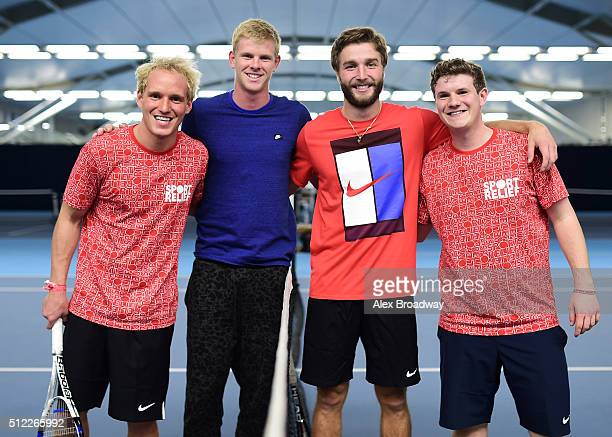 Jamie Laing Kyle Edmund Liam Broady and Will Cowell during the 'Sport Relief 2016 24 Hours of Tennis' event at the National Tennis Centre on February...
