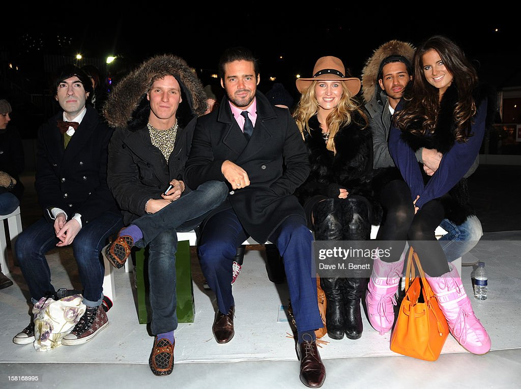 Jamie Laing, Spencer Matthews, Cheska Hull, Ollie Locke and Binkie Feldstead attend The UK's first Catwalk on Ice from Very.co.uk, held at the Tower of London Ice Rink, gave shoppers a more entertaining way to shop their Christmas outfits this season at Tower of London on December 10, 2012 in London, England.