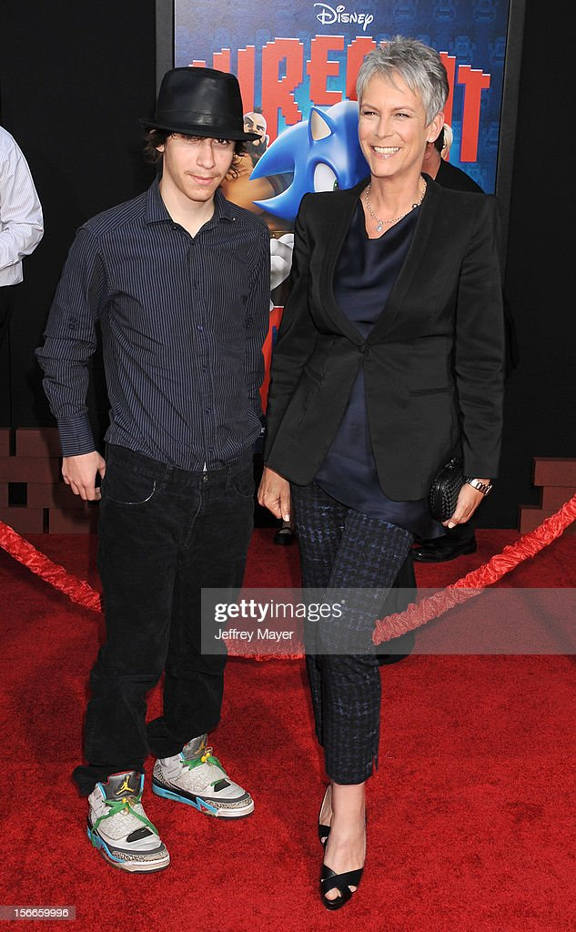 Jamie Lee Curtis and Thomas Guest arrive at the Los Angeles premiere of 'Wreck-It Ralph' at the El Capitan Theatre on October 29, 2012 in Hollywood, California.