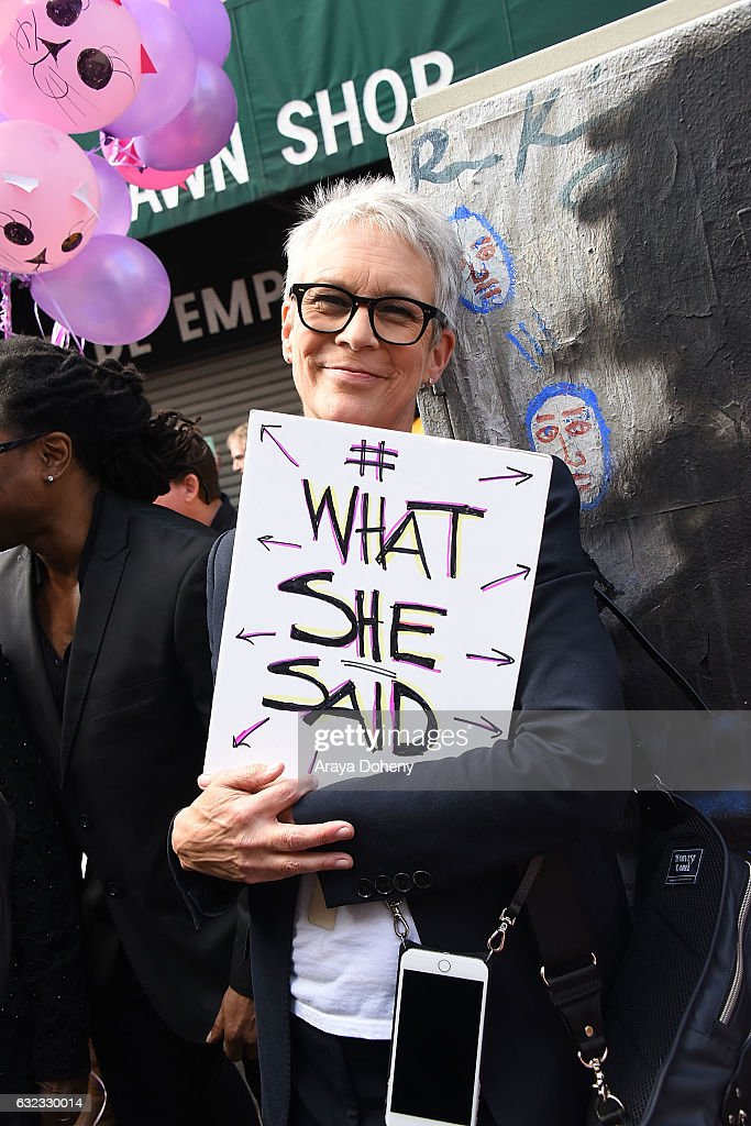 Jamie Lee Curtis attends the Women's March Los Angeles on January 21, 2017 in Los Angeles, California.