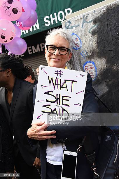 Jamie Lee Curtis attends the Women's March Los Angeles on January 21 2017 in Los Angeles California