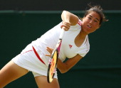 Jamie Lee Hampton of USA returns the ball during her ladies singles second round match against Heather Watson of Great Britain on day three of the...