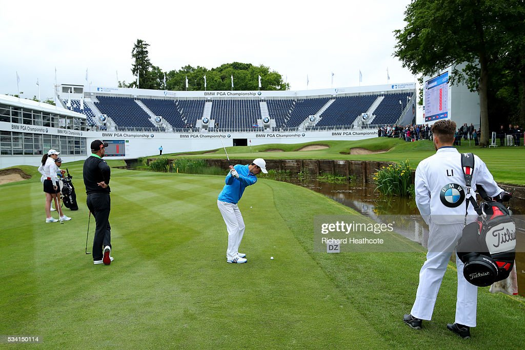 Jamie Li in action during the Pro-Am prior to the BMW PGA Championship at Wentworth on May 25, 2016 in Virginia Water, England.