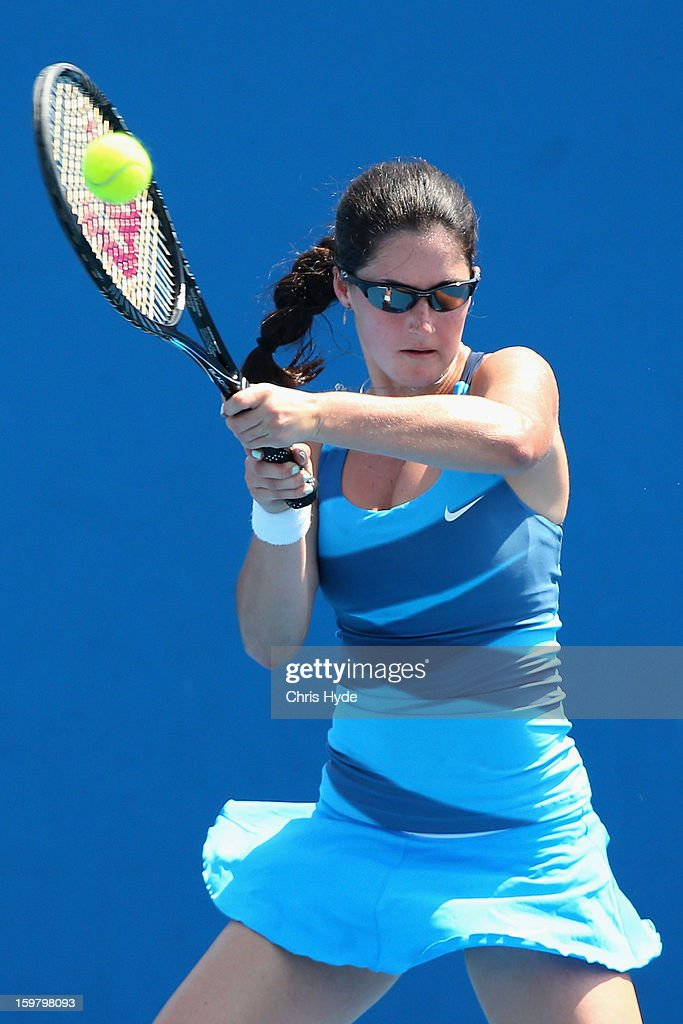 Jamie Loeb of the United States of America plays a backhand in her second round match against Anna Danilina of Kazakhstan during the 2013 Australian Open Junior Championships at Melbourne Park on January 21, 2013 in Melbourne, Australia.