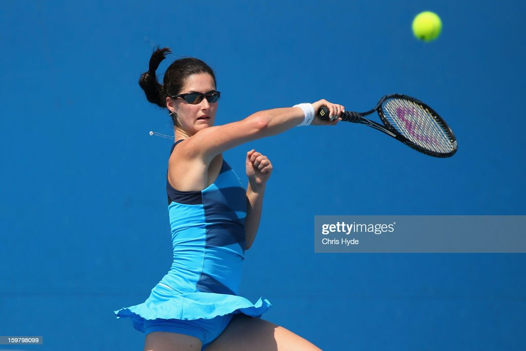 Jamie Loeb of the United States of America plays a forehand in her second round match against Anna Danilina of Kazakhstan during the 2013 Australian Open Junior Championships at Melbourne Park on January 21, 2013 in Melbourne, Australia.