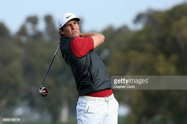 Jamie Lovemark hits a tee shot on the 2nd hole during the third round of the Farmers Insurance Open on Torrey Pines South on January 25 2014 in La...